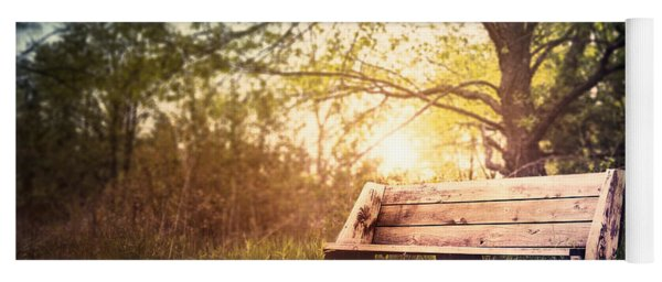 Sunset On A Wooden Bench Yoga Mat