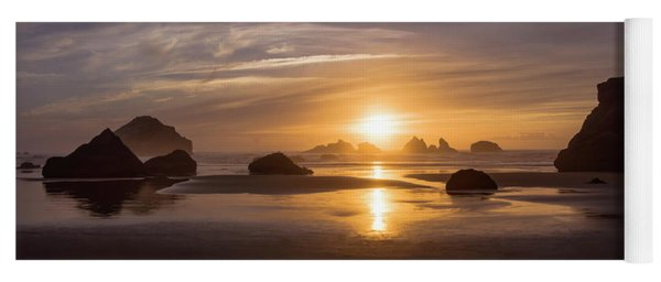 Sunset On Bandon Beach Yoga Mat