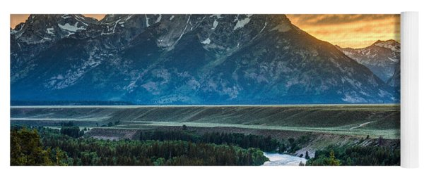 Sunset On Grand Teton And Snake River Yoga Mat