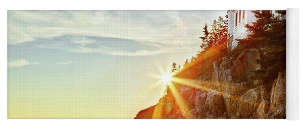 Ocean Sunset On Maine's Bass Harbor Lighthouse Yoga Mat