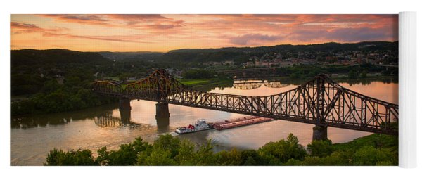 Sunset On Ohio River  Yoga Mat