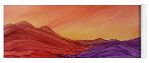 Sunset On Red And Purple Hills Yoga Mat