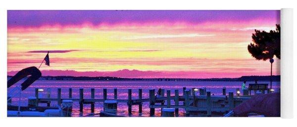 Sunset On The Docks Yoga Mat