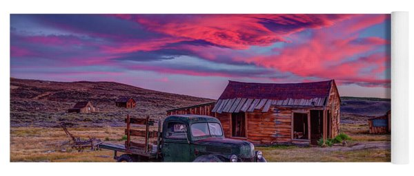 Sunset Over Bodie's Green Truck Yoga Mat