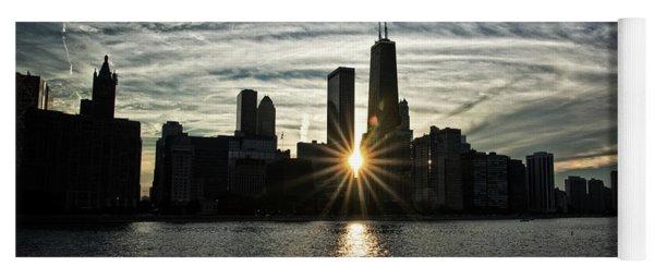 Sunset Over Chicago Skyline And Lake Michigan Yoga Mat