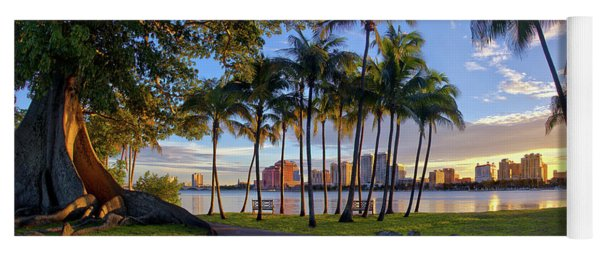 Sunset Over Downtown West Palm Beach From Palm Beach Island Yoga Mat