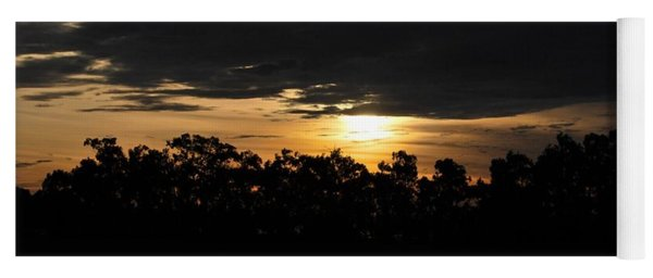 Sunset Over Farm And Trees - Silhouette View  Yoga Mat