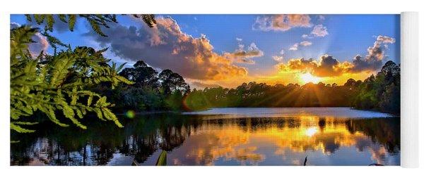 Sunset Over Hidden Lake In Jupiter Florida Yoga Mat