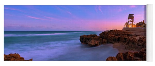 Sunset Over House Of Refuge Beach On Hutchinson Island Florida Yoga Mat