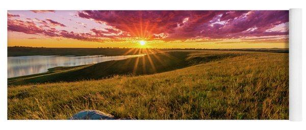 Sunset Over Lake Oahe Yoga Mat