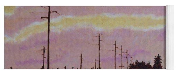 Sunset Over Powerlines Yoga Mat