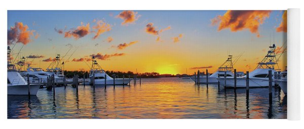 Sunset Over The Sailfish Marina In Riviera Beach Florida Yoga Mat