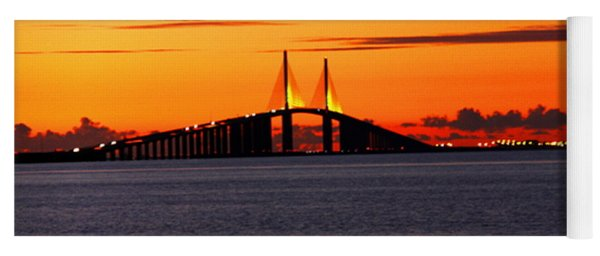 Sunset Over The Skyway Bridge Yoga Mat
