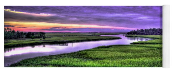Sunset Over Turners Creek Savannah Tybee Island Ga Yoga Mat