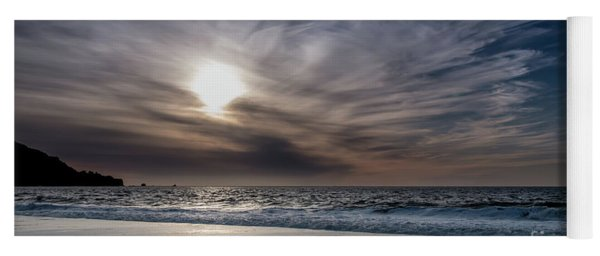 Sunset Over West Coast Beach With Silk Clouds In The Sky Yoga Mat