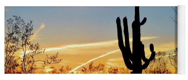 Sunset Saguaro In The Spring Yoga Mat