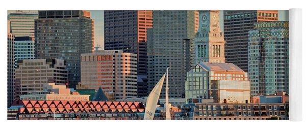 Sunset Sails On Boston Harbor Yoga Mat