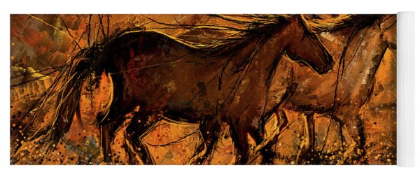 Sunset Stride - Horses In The Wild Sepia Painting Yoga Mat