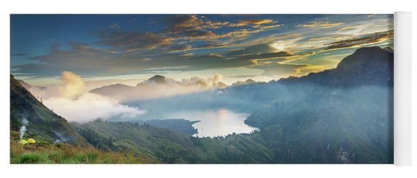 Sunset View From Mt Rinjani Crater Yoga Mat