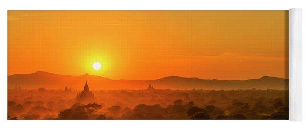 Sunset View Of Bagan Pagoda Yoga Mat