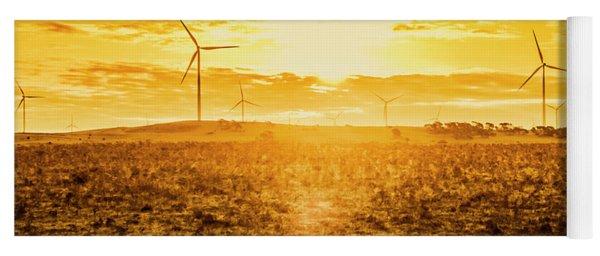 Sunsets And Golden Turbines Yoga Mat