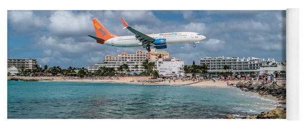 Sunwing Airlines Arriving At St. Maarten Airport. Yoga Mat
