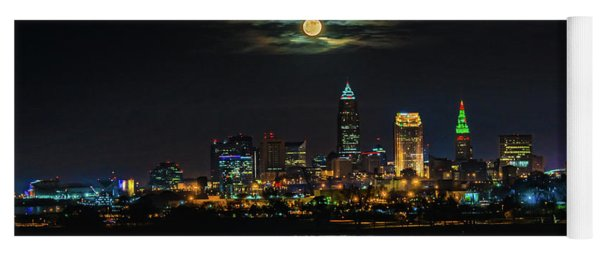 Super Full Moon Over Cleveland Yoga Mat