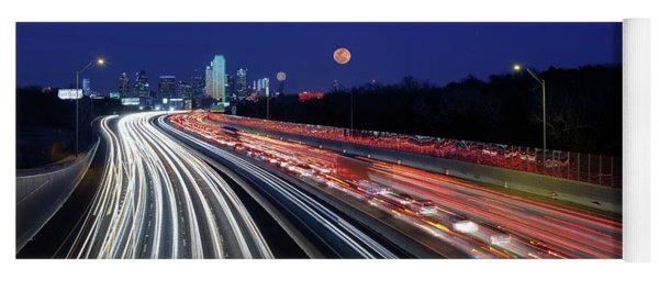 Super Moon And Dallas Texas Skyline Yoga Mat