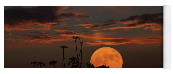 Super Moon And Silhouettes Yoga Mat