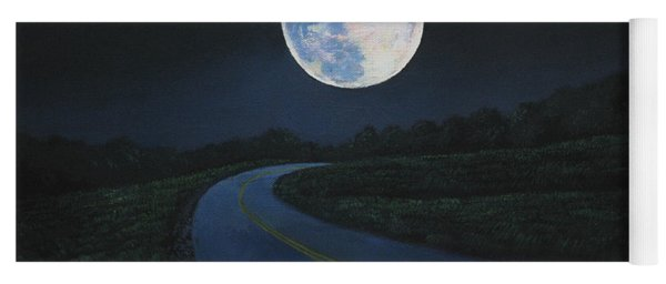 Super Moon At The End Of The Road Yoga Mat