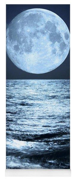 Super Moon Over Ocean Yoga Mat
