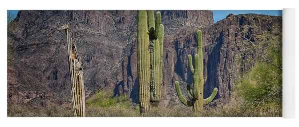 Superstition Mountain With Cactus Yoga Mat