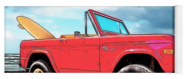 Surf Bronco Beyond The 4 Wheel Drive Only Sign Padre Island Yoga Mat