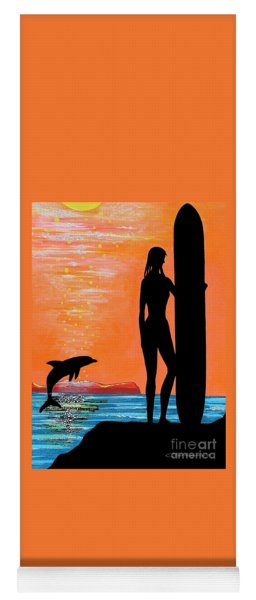 Surfer Girl With Dolphin Yoga Mat