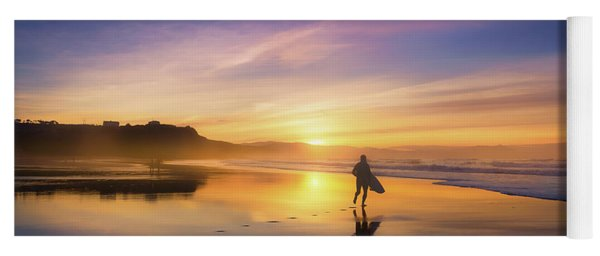 Surfer In Beach At Sunset Yoga Mat
