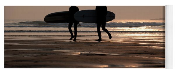 Surfers At Sunset Yoga Mat