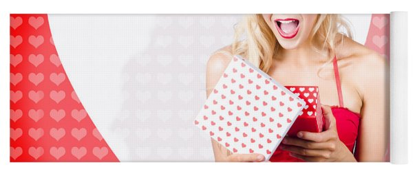 Surprised Attractive Girl With Heart Gift Box Yoga Mat