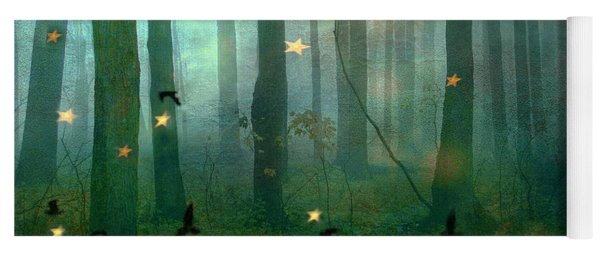 Surreal Dreamy Fantasy Nature Fairy Lights Woodlands Nature - Fairytale Fantasy Forest Woodlands  Yoga Mat