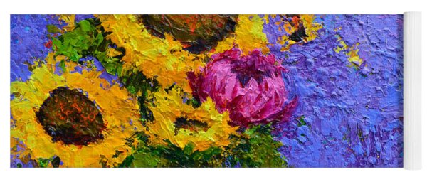 Surrounded By Joy - Modern Floral Impressionist Palette Knife Work Yoga Mat