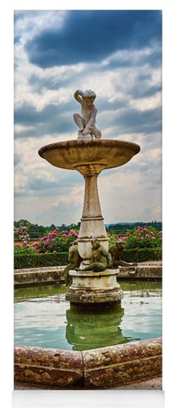 The Monkeys Fountain At The Gardens Of The Knight In Florence, Italy Yoga Mat