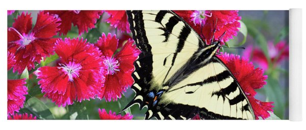 Swallowtail On Red Flowers Yoga Mat