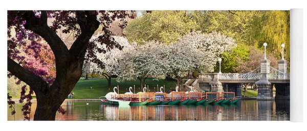 Swan Boats With Apple Blossoms Yoga Mat