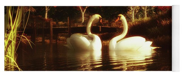 Swans In A Pond Yoga Mat
