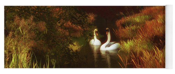 Swans In The Forest Yoga Mat