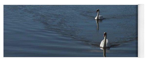 Swans On Deep Blue Yoga Mat