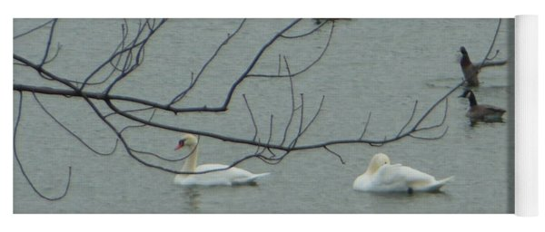 Swans With Geese Yoga Mat