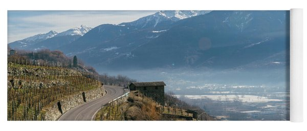 Swerving Road In Valtellina, Italy Yoga Mat