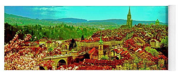 Switzerland Bern City View Matte Aare River    Yoga Mat