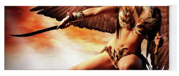 Swords Of The Hawk Woman Yoga Mat