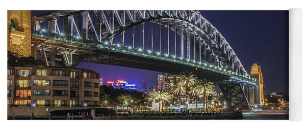 Yoga Mat featuring the photograph Sydney Harbor Bridge At Night by Ray Warren